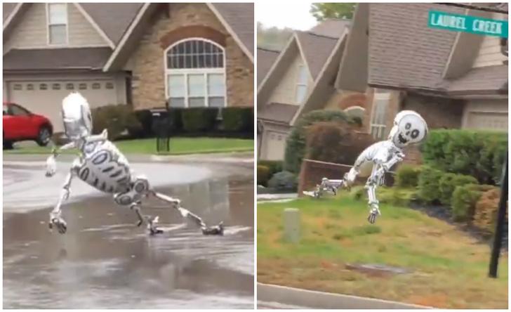 Фото №1 - Надувной скелет носится по улице, лихо взмывая в воздух (видео)