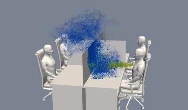 Фото №2 - Ученые показали, как вирус распространяется в офисе после кашля (видео)