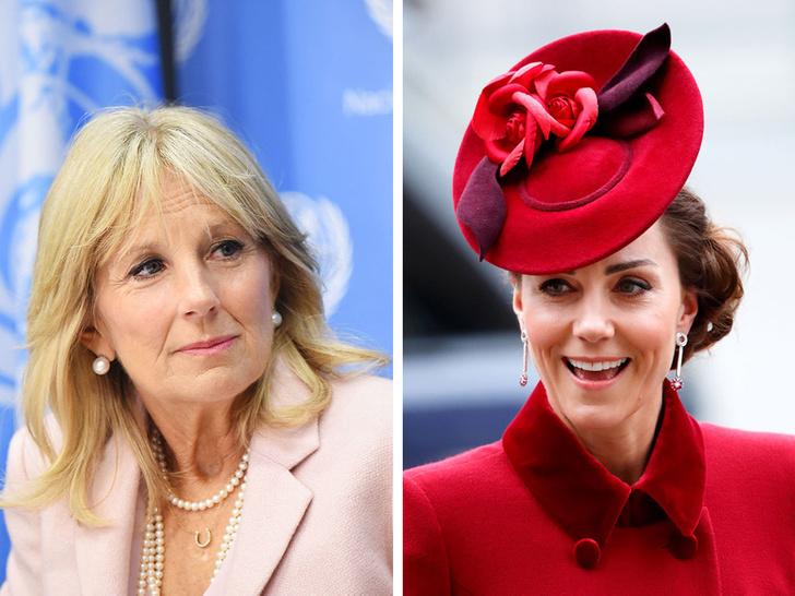 Фото №1 - Красный против розового: первая модная битва герцогини Кейт и Джилл Байден