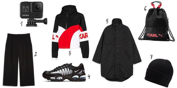 1. Gopro Hero 8 Black, 2, 5. Monki, 4. Street-beat, 3, 6, 7. Puma x Karl Lagerfeld