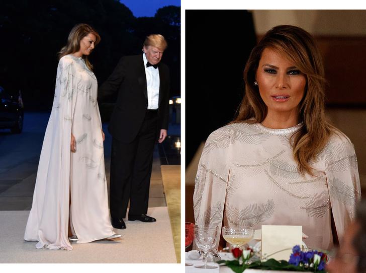 Фото №1 - Мелания Трамп стала звездой вечера в Императорском дворце Японии