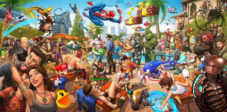 Фото №1 - Гейм-угадайка: сколько героев компьютерных игр изображено на картине?