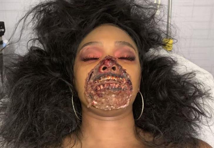 Фото №1 - В Мичигане врачи были перепуганы пациенткой в гриме зомби (фото)