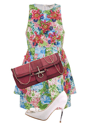 Платье, River Island, 5999 руб.; сумка, Orsa Oro, 1538 руб.; туфли, Centro, 999 руб.