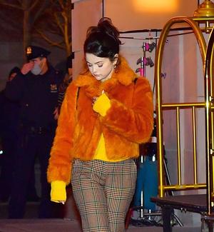 Фото №1 - Оранжевая шуба— хит сезона! Яркий образ Селены Гомес, который согреет в морозы