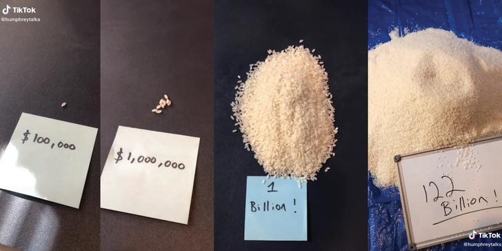 Фото №1 - Насколько богат самый богатый человек в мире на примере риса (видео)