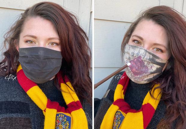 Фото №1 - Художница создает «волшебные» противовирусные маски по мотивам «Гарри Поттера» с проявляющимися при дыхании картинами (видео)