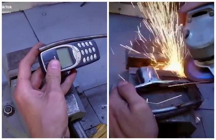 Фото №1 - Видео, как культовую кнопочную Nokia превращают в молоток, набрало больше 2 миллионов просмотров