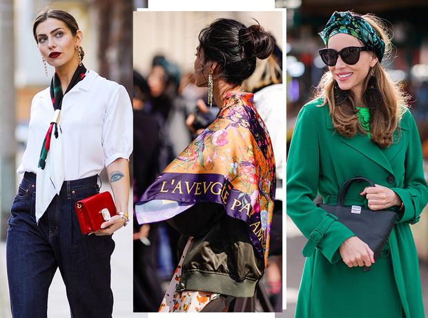 Фото №1 - Как носить шелковые платки: 10 самых простых и стильных способов
