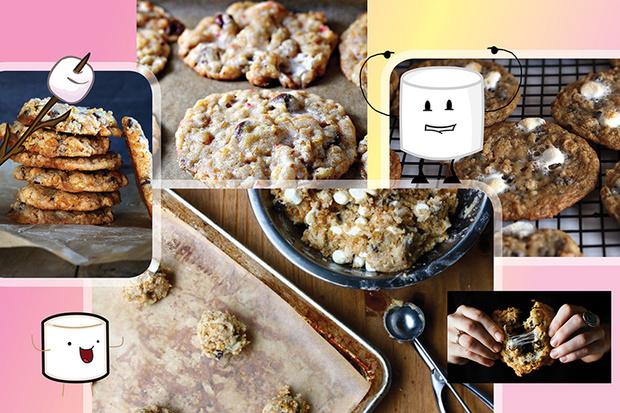Печенье с маршмеллоу, шоколадной крошкой и кукурузными хлопьями