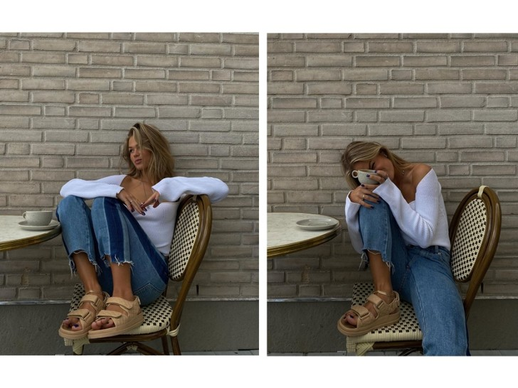Фото №1 - Бежевые сандалии и необычные джинсы: очень удачный образ инфлюенсера Ханны Шонберг