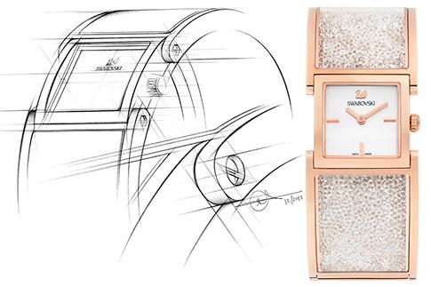Часы и эскиз кчасам Crystalline, Swarovski