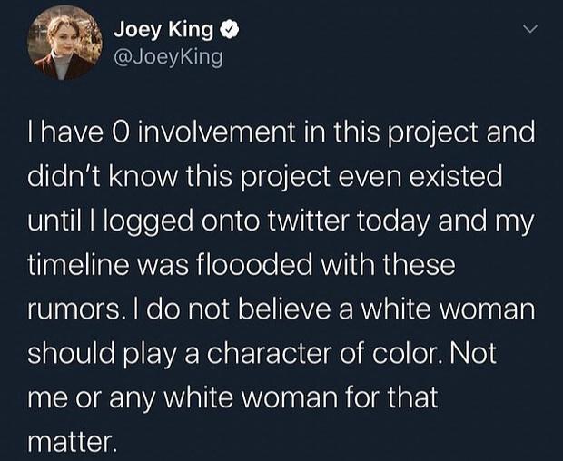 Фото №1 - Джои Кинг ответила на слухи о своем участии в экранизации мультсериала «Аватар: Легенда об Аанге»