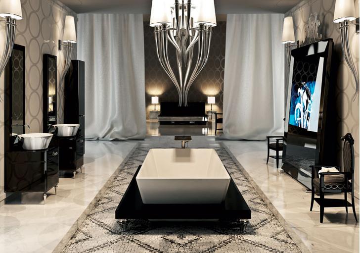 Коллекция мебели и аксессуаров для ванной комнаты Marienbad с телевизором, встроенным в напольное зеркало, Visionnaire IPE Cavalli, www.visionnaire-home.it, галереи Arte di Vivere.