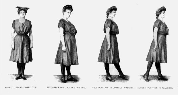 Как стоять правильно; как стоять неправильно; первая позиция при правильной ходьбе; вторая позиция при ходьбе.