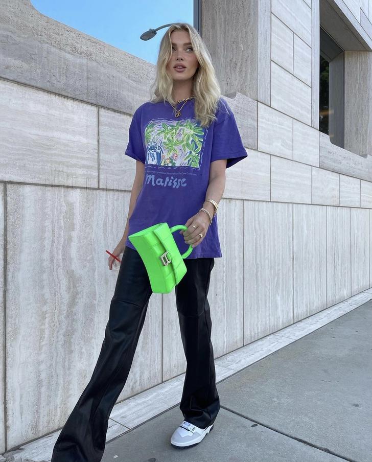 Фото №2 - +1 способ носить кожаные брюки этой осенью. Показывает Эльза Хоск