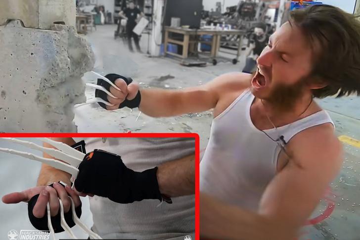 Фото №1 - Парень сделал себе когти, как у Росомахи из «Людей Икс», и попробовал пробить ими стену (видео)