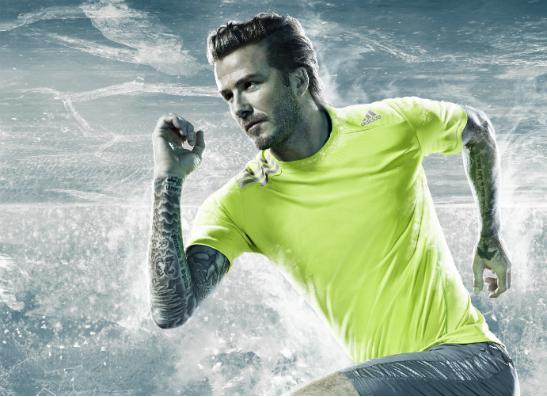 Дэвид Бекхэм в футболке adidas