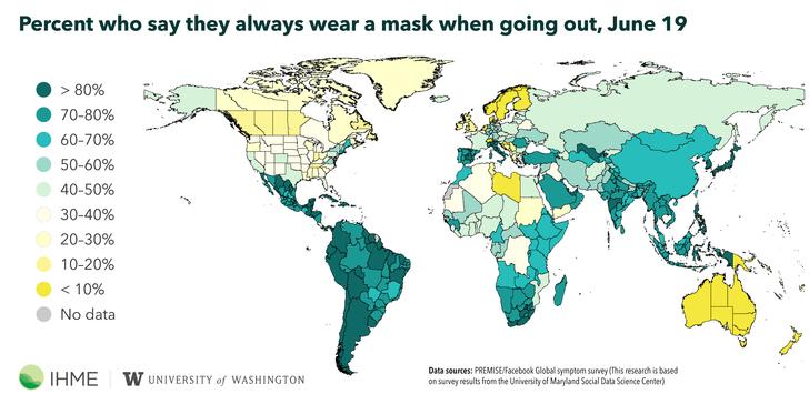 Фото №2 - Карта: сколько людей продолжали носить маску в разных странах в июне?