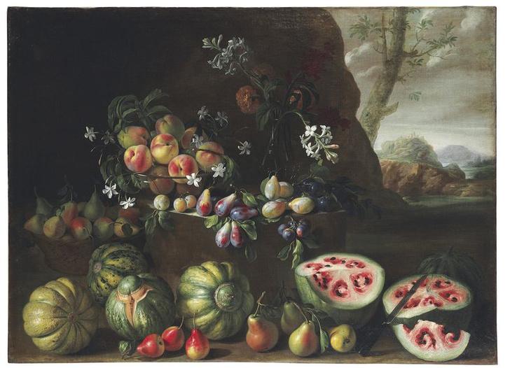 Джованни Станки. Натюрморт с арбузами, персиками, грушами и другими фруктами, около 1645–1672