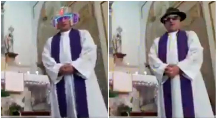 Фото №1 - Священник решил провести мессу в прямом эфире, но случайно включил сразу несколько фильтров (видео)