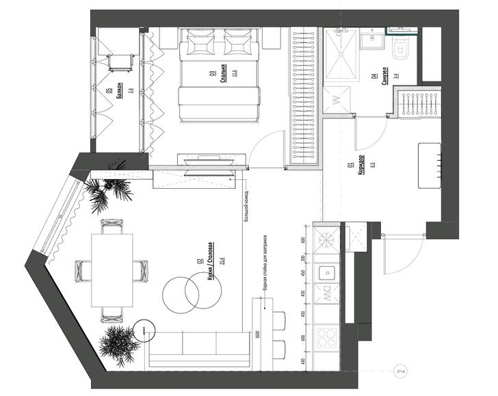 Фото №12 - Яркая квартира 46 м² для сдачи в аренду в Москве