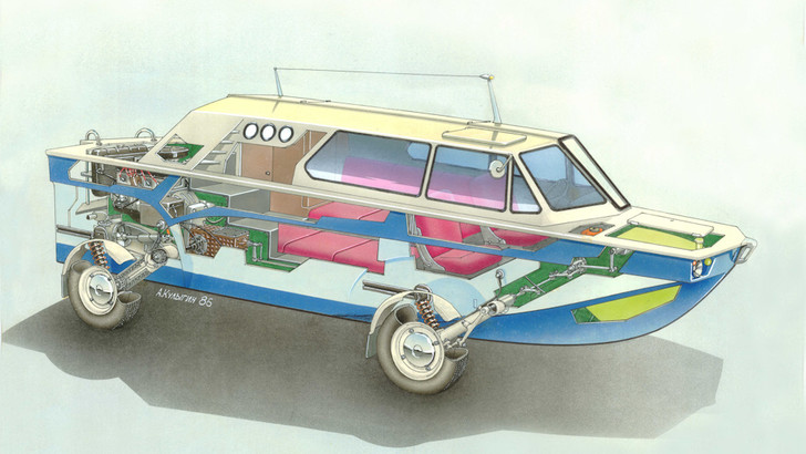 Фото №1 - Советский автомобиль-амфибия, который построил музыкант
