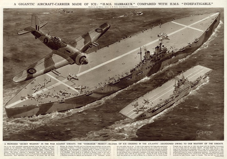 Фото №3 - Ледовое чудовище. История британского авианосца из воды и палок
