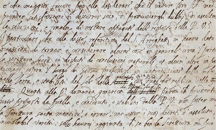 Фото №1 - Обнаружен оригинал еретического письма Галилео Галилея