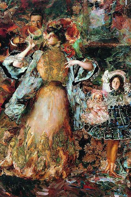 Филипп Малявин, «Автопортрет сженой идочерью», 1910