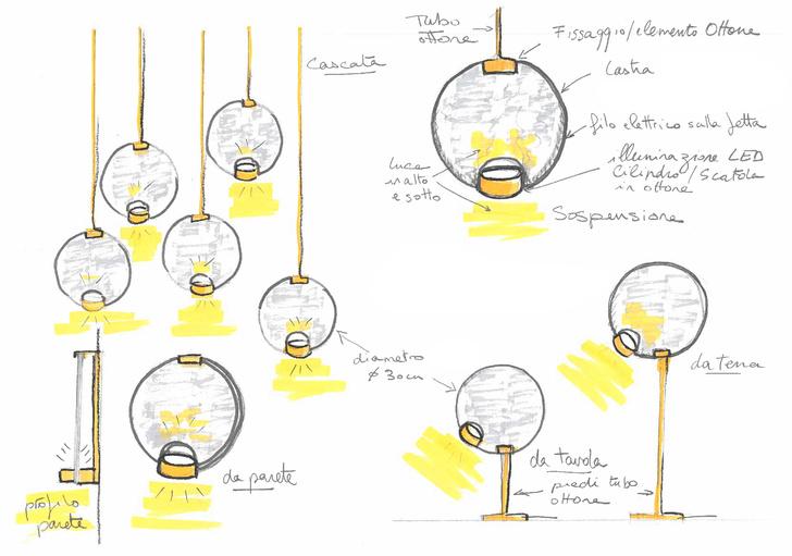 Эскиз Пьера Гоналона для светильников Horo.