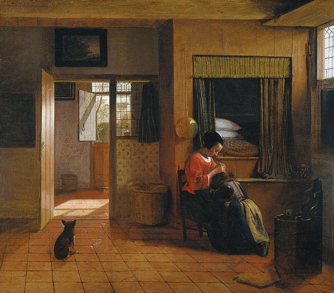 Картина «Материнский долг» голландского живописца Питера де Хоха, XVII век. За спиной у матери кровать-шкаф с приставным ящиком, чтобы в него легче было залезать
