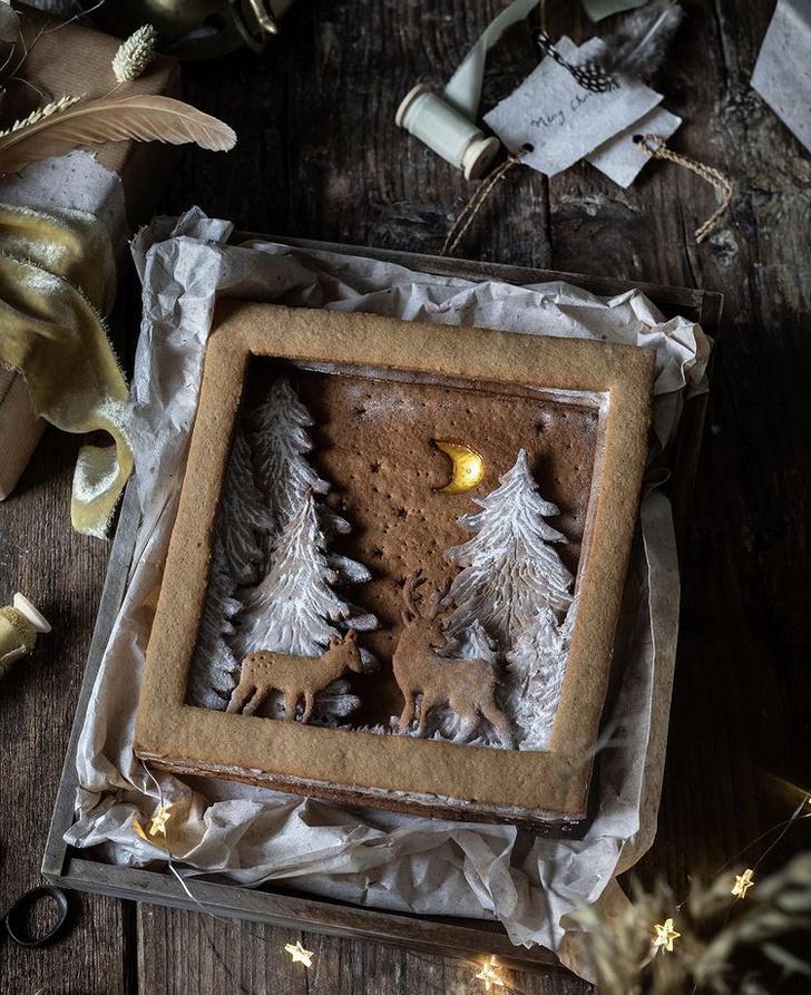 Фото №2 - Фуд-тренд: съедобные рождественские открытки из имбирно-орехового теста
