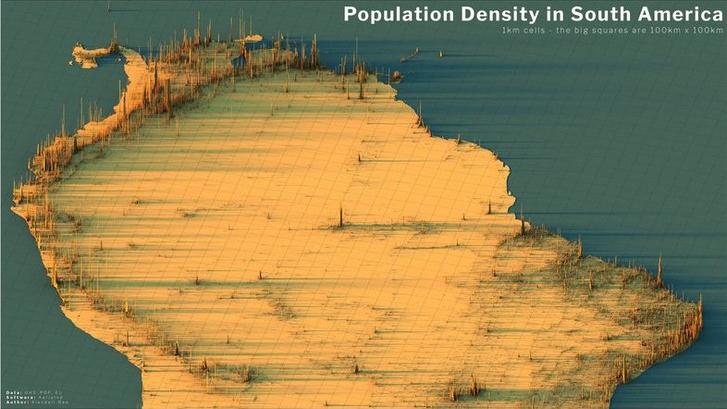 Фото №9 - Красивые трехмерные карты мира, показывающие распределение населения Земли