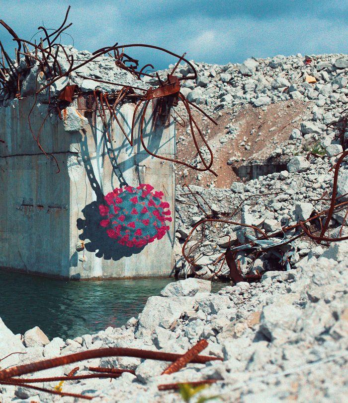Фото №9 - 20 граффити со всего мира, навеянные коронавирусом