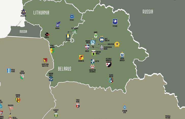 Фото №1 - Карта: футбольные клубы Европы и России по их родным городам