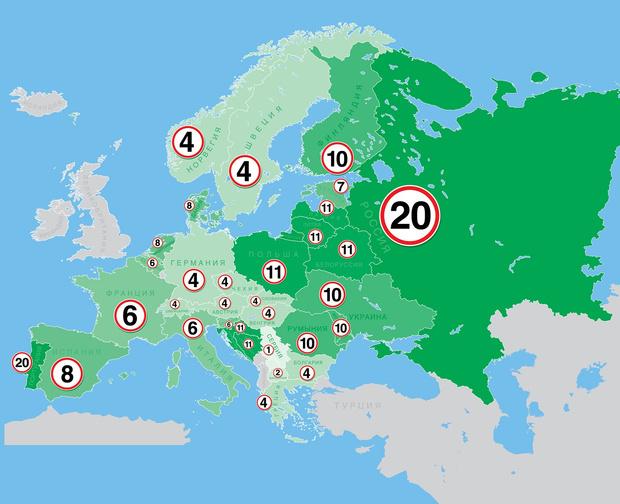 Фото №1 - Карта: на сколько км/ч можно превысить скорость в разных странах