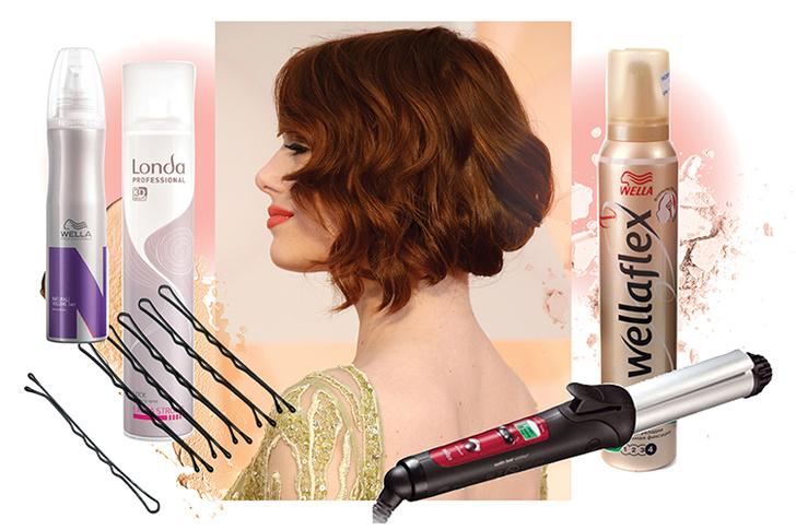 Мусс для укладки волос Wellaflex «Объем для тонких волос», Wella; Щипцы для завивки Braun EC2 Satin Hair Colour; Лак для волос экстрасильной фиксации, Londa Professional; Невидимки