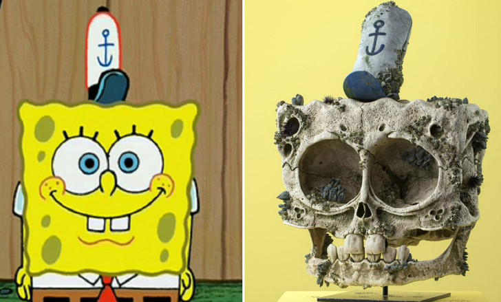 Фото №1 - Художник создал реалистичные 3D-иллюстрации черепов известных анимационных героев