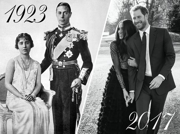 Фото №1 - Было – стало: как изменились официальные помолвочные портреты Виндзоров за 95 лет