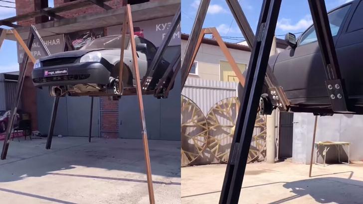 Фото №2 - Житель Краснодара переделал свою «Приору» в машину-паука (видео)