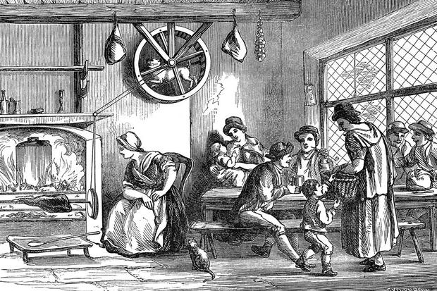 Гравюра XIX века увековечила вертельную собаку за работой