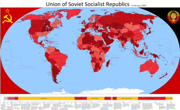Фото №1 - Карта: Как выглядел бы мир в 2020 году, если бы его завоевал СССР