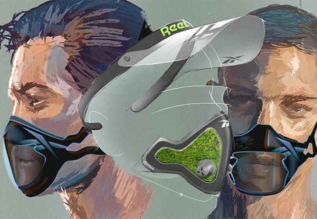 Фото №1 - Reebok показал концепт противовирусной маски для спорта и плавания со мхом вместо фильтра