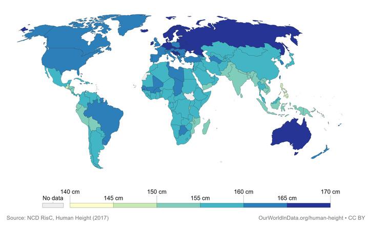 Фото №2 - Карта: средний рост женщин в каждой стране мира