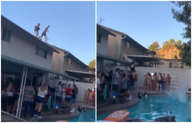 Фото №1 - Дважды удаленное с TikTok видео прыжка в бассейн с крыши набрало 10 миллионов просмотров в Твиттере за сутки