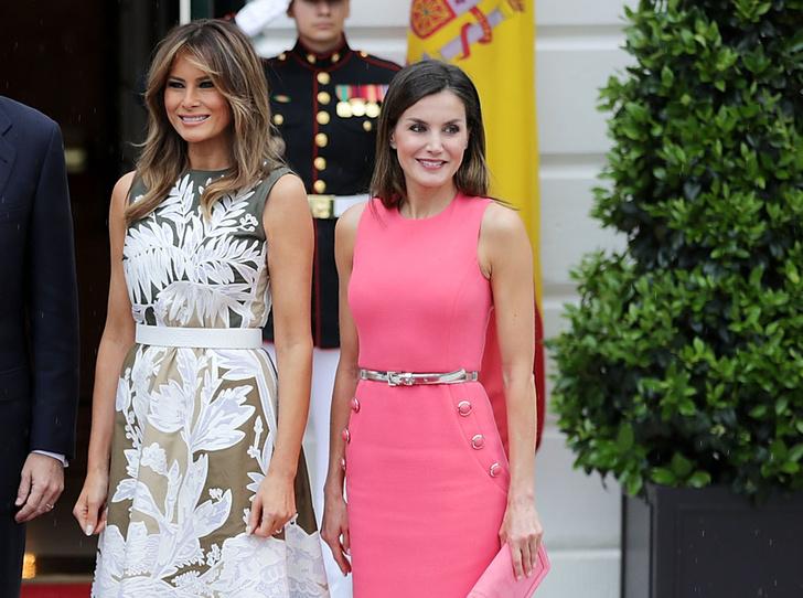 Фото №1 - Королева Летиция пришла на встречу с Меланией Трамп в платье Мелании Трамп