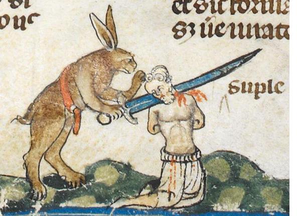 Фото №1 - Почему на средневековых рисунках зайцы изощренно убивают рыцарей?