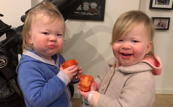Фото №1 - Умилительное видео: сестры-близняшки едят помидоры и хихикают
