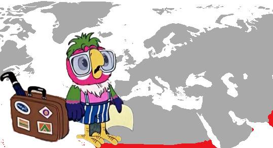 Фото №1 - Карта, показывающая, где на нашей планете живут попугаи